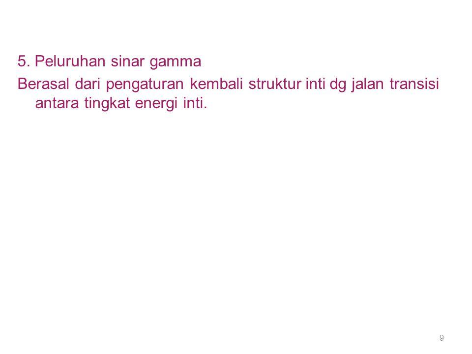5. Peluruhan sinar gamma Berasal dari pengaturan kembali struktur inti dg jalan transisi antara tingkat energi inti. 9