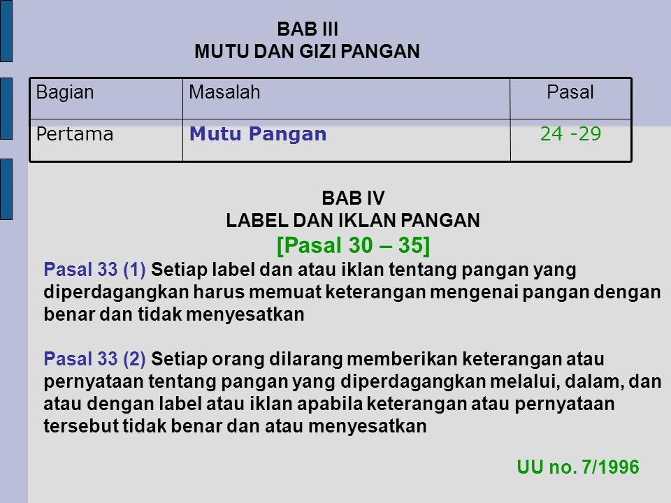 24 -29Mutu PanganPertama PasalMasalahBagian BAB III MUTU DAN GIZI PANGAN UU no.