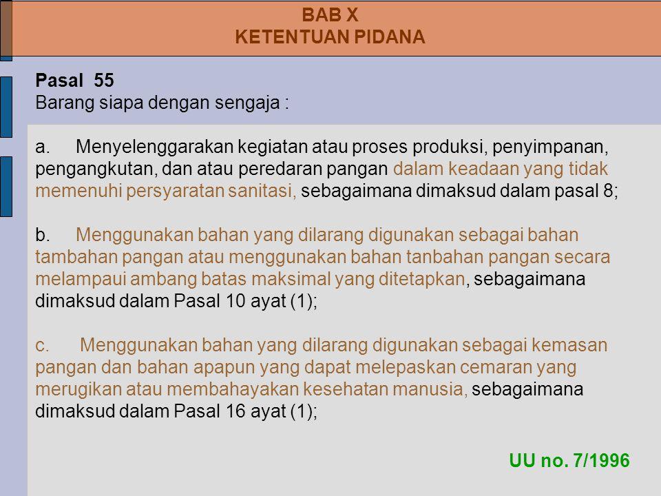 UU no.7/1996 BAB X KETENTUAN PIDANA Pasal 55 Barang siapa dengan sengaja : a.