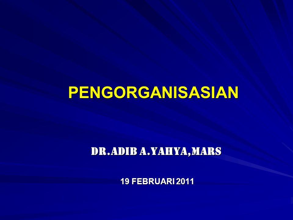 PENGORGANISASIAN PENGORGANISASIAN dr.Adib A.Yahya,MARS dr.Adib A.Yahya,MARS 19 FEBRUARI 2011