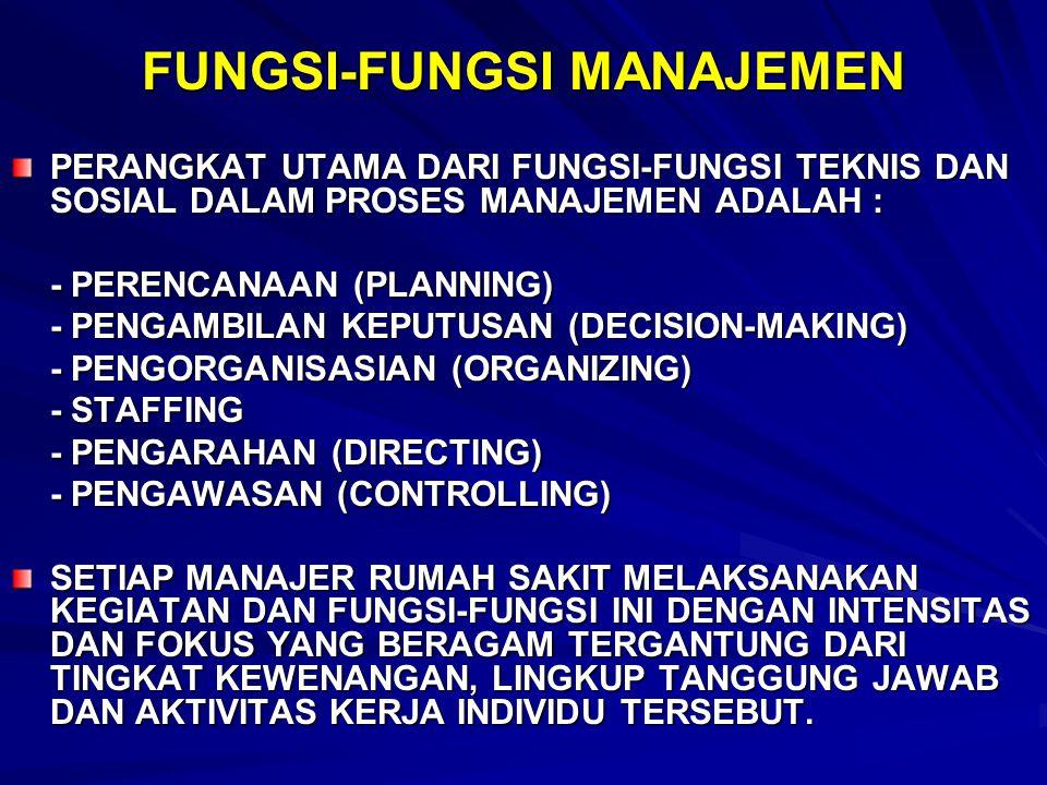 FUNGSI-FUNGSI MANAJEMEN PERANGKAT UTAMA DARI FUNGSI-FUNGSI TEKNIS DAN SOSIAL DALAM PROSES MANAJEMEN ADALAH : - PERENCANAAN (PLANNING) - PENGAMBILAN KE