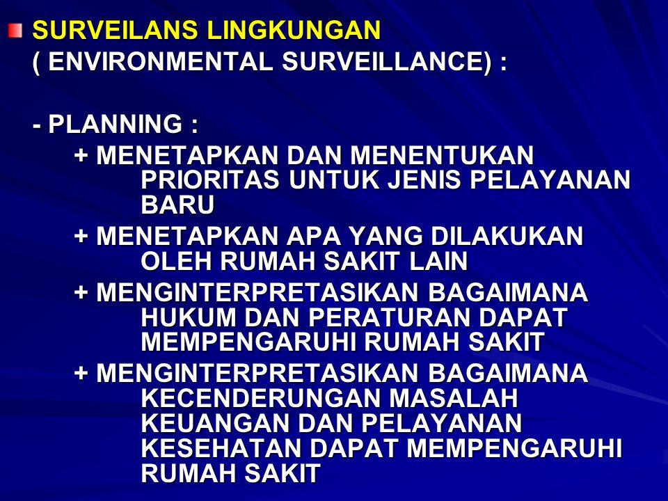 SURVEILANS LINGKUNGAN ( ENVIRONMENTAL SURVEILLANCE) : - PLANNING : + MENETAPKAN DAN MENENTUKAN PRIORITAS UNTUK JENIS PELAYANAN BARU + MENETAPKAN APA Y