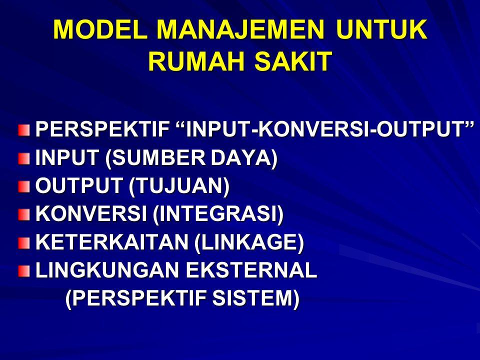 "MODEL MANAJEMEN UNTUK RUMAH SAKIT PERSPEKTIF ""INPUT-KONVERSI-OUTPUT"" INPUT (SUMBER DAYA) OUTPUT (TUJUAN) KONVERSI (INTEGRASI) KETERKAITAN (LINKAGE) LI"