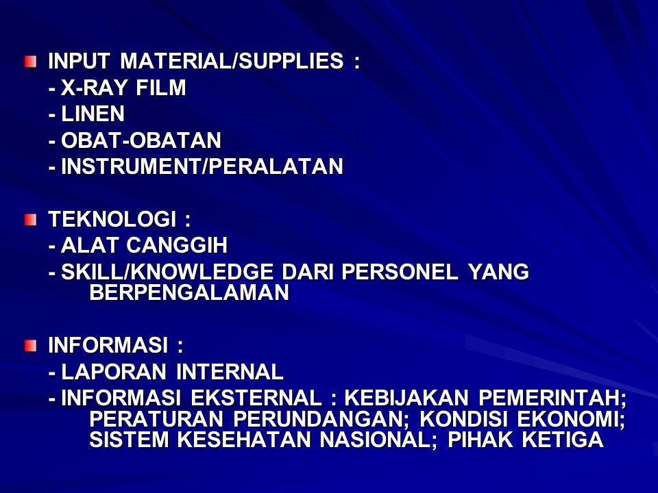INPUT MATERIAL/SUPPLIES : - X-RAY FILM - LINEN - OBAT-OBATAN - INSTRUMENT/PERALATAN TEKNOLOGI : - ALAT CANGGIH - SKILL/KNOWLEDGE DARI PERSONEL YANG BE