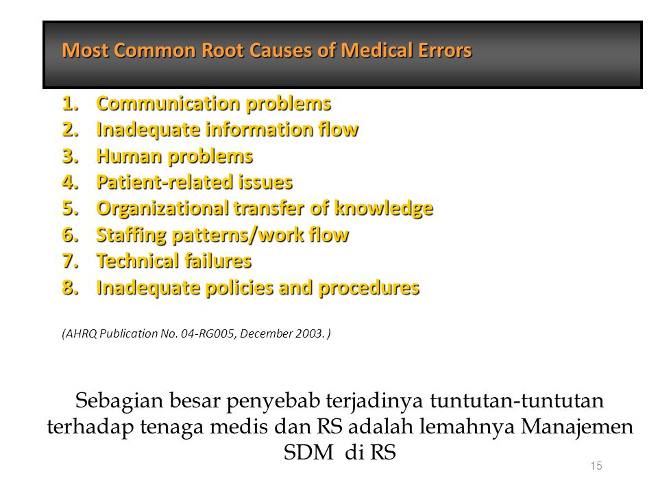 15 Most Common Root Causes of Medical Errors 1. Communication problems 2.