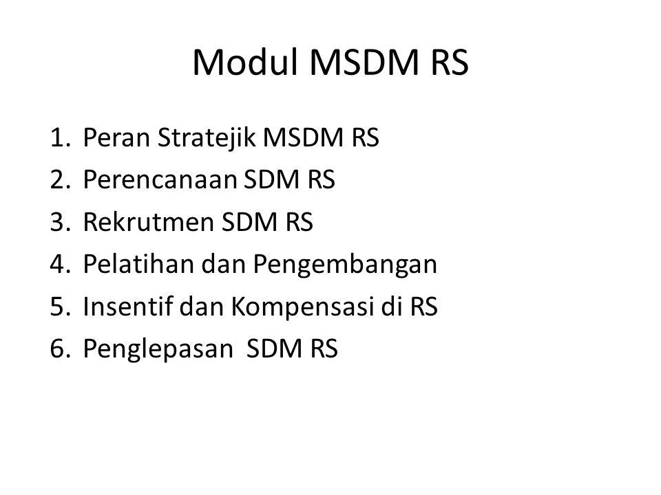 Modul MSDM RS 1.Peran Stratejik MSDM RS 2.Perencanaan SDM RS 3.Rekrutmen SDM RS 4.Pelatihan dan Pengembangan 5.Insentif dan Kompensasi di RS 6.Penglepasan SDM RS
