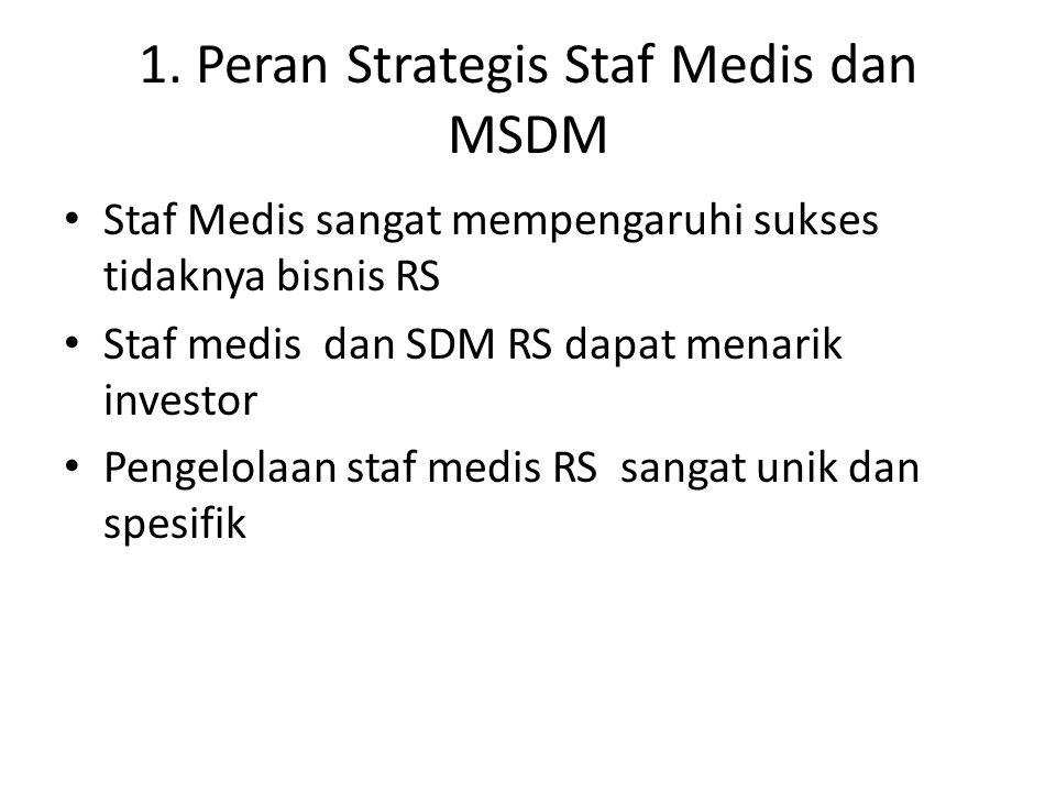 1. Peran Strategis Staf Medis dan MSDM Staf Medis sangat mempengaruhi sukses tidaknya bisnis RS Staf medis dan SDM RS dapat menarik investor Pengelola