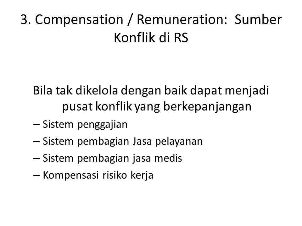 3. Compensation / Remuneration: Sumber Konflik di RS Bila tak dikelola dengan baik dapat menjadi pusat konflik yang berkepanjangan – Sistem penggajian