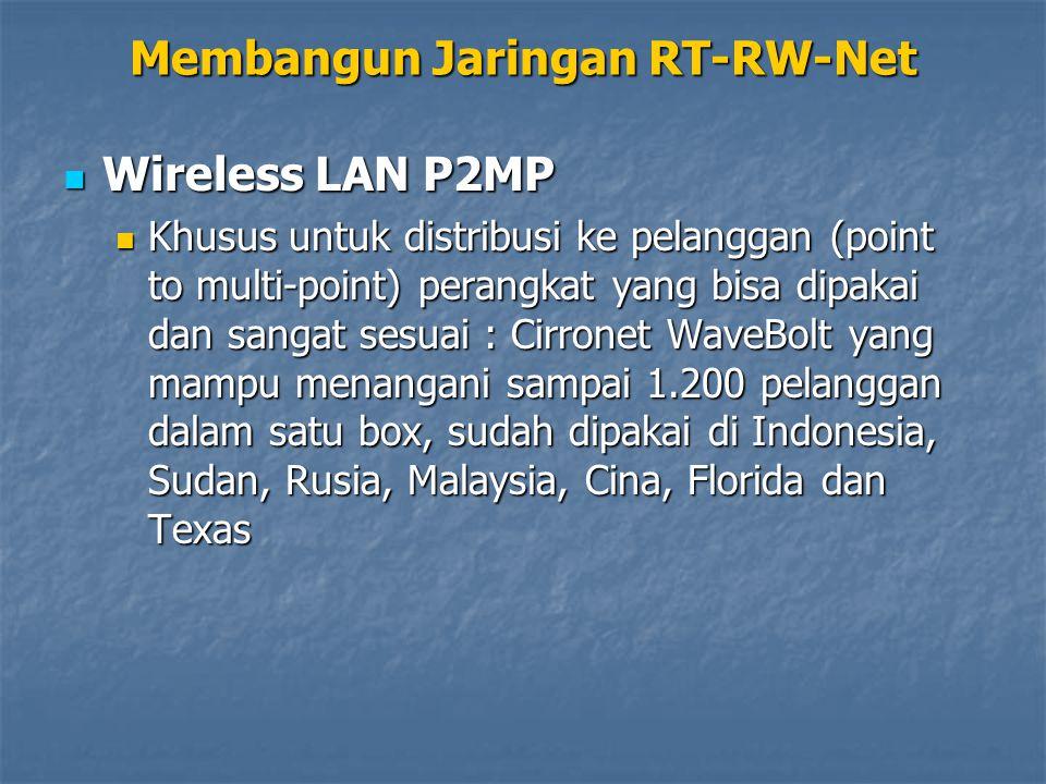 Wireless LAN P2MP Wireless LAN P2MP Khusus untuk distribusi ke pelanggan (point to multi-point) perangkat yang bisa dipakai dan sangat sesuai : Cirronet WaveBolt yang mampu menangani sampai 1.200 pelanggan dalam satu box, sudah dipakai di Indonesia, Sudan, Rusia, Malaysia, Cina, Florida dan Texas Khusus untuk distribusi ke pelanggan (point to multi-point) perangkat yang bisa dipakai dan sangat sesuai : Cirronet WaveBolt yang mampu menangani sampai 1.200 pelanggan dalam satu box, sudah dipakai di Indonesia, Sudan, Rusia, Malaysia, Cina, Florida dan Texas Membangun Jaringan RT-RW-Net