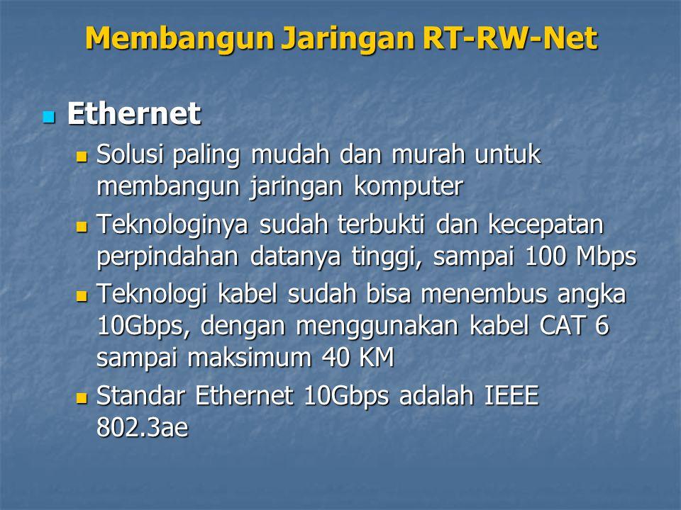 Ethernet Ethernet Solusi paling mudah dan murah untuk membangun jaringan komputer Solusi paling mudah dan murah untuk membangun jaringan komputer Teknologinya sudah terbukti dan kecepatan perpindahan datanya tinggi, sampai 100 Mbps Teknologinya sudah terbukti dan kecepatan perpindahan datanya tinggi, sampai 100 Mbps Teknologi kabel sudah bisa menembus angka 10Gbps, dengan menggunakan kabel CAT 6 sampai maksimum 40 KM Teknologi kabel sudah bisa menembus angka 10Gbps, dengan menggunakan kabel CAT 6 sampai maksimum 40 KM Standar Ethernet 10Gbps adalah IEEE 802.3ae Standar Ethernet 10Gbps adalah IEEE 802.3ae Membangun Jaringan RT-RW-Net