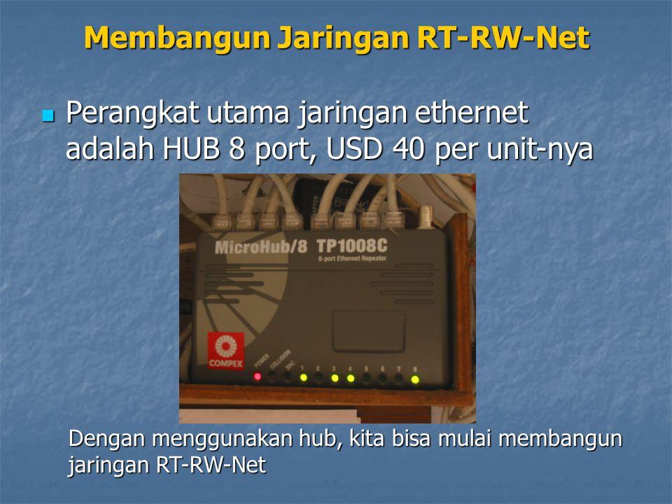 Perangkat utama jaringan ethernet adalah HUB 8 port, USD 40 per unit-nya Perangkat utama jaringan ethernet adalah HUB 8 port, USD 40 per unit-nya Dengan menggunakan hub, kita bisa mulai membangun jaringan RT-RW-Net