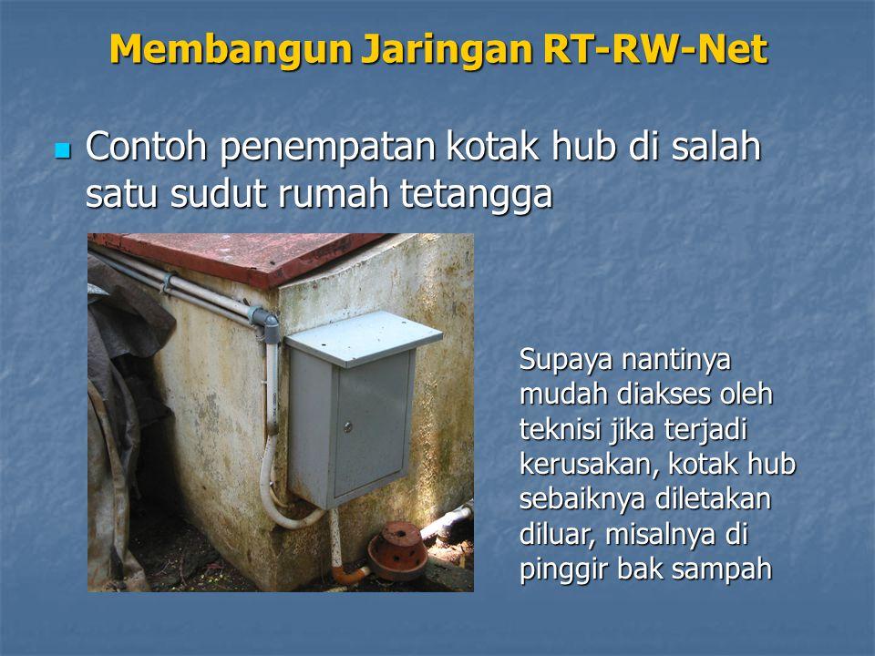 Membangun Jaringan RT-RW-Net Contoh penempatan kotak hub di salah satu sudut rumah tetangga Contoh penempatan kotak hub di salah satu sudut rumah tetangga Supaya nantinya mudah diakses oleh teknisi jika terjadi kerusakan, kotak hub sebaiknya diletakan diluar, misalnya di pinggir bak sampah
