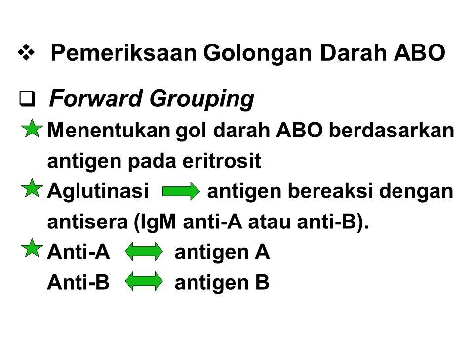  Pemeriksaan Golongan Darah ABO  Forward Grouping Menentukan gol darah ABO berdasarkan antigen pada eritrosit Aglutinasi antigen bereaksi dengan ant