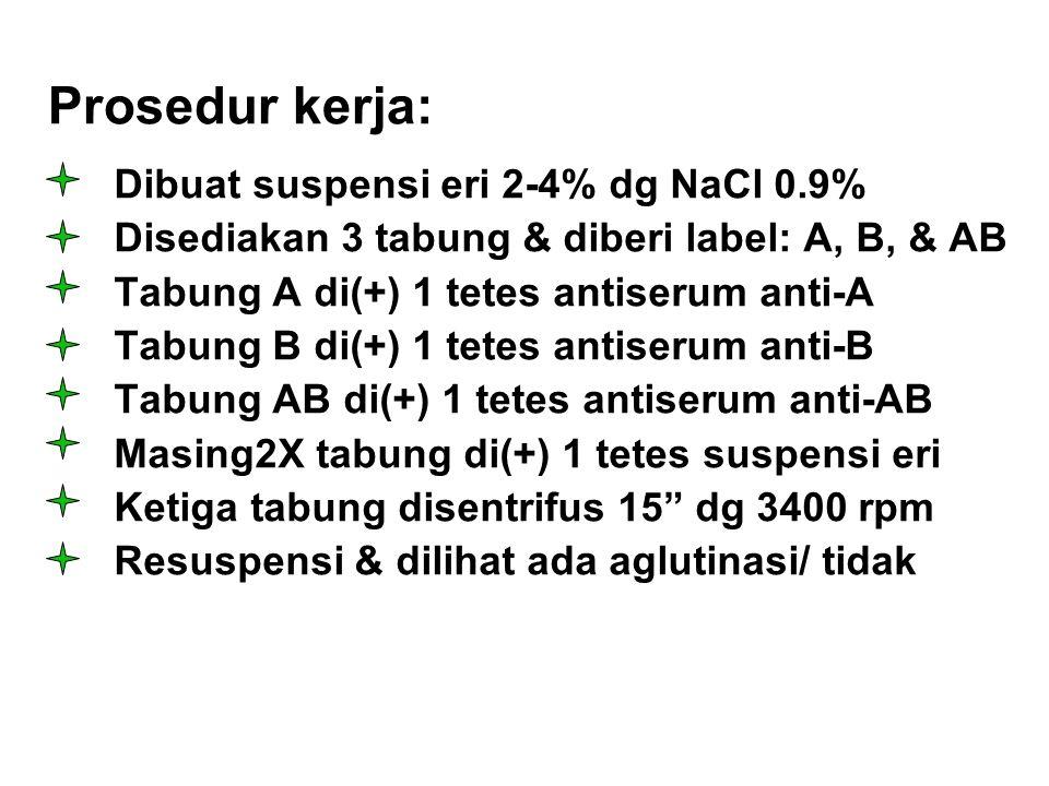 Prosedur kerja: Dibuat suspensi eri 2-4% dg NaCl 0.9% Disediakan 3 tabung & diberi label: A, B, & AB Tabung A di(+) 1 tetes antiserum anti-A Tabung B