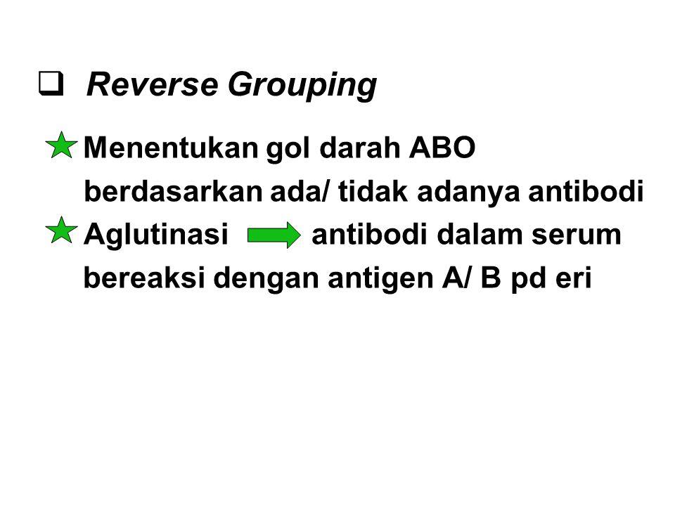  Reverse Grouping Menentukan gol darah ABO berdasarkan ada/ tidak adanya antibodi Aglutinasi antibodi dalam serum bereaksi dengan antigen A/ B pd eri