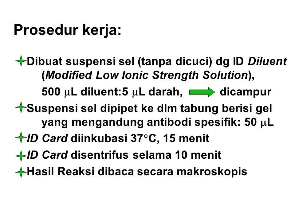 Prosedur kerja: Dibuat suspensi sel (tanpa dicuci) dg ID Diluent (Modified Low Ionic Strength Solution), 500  L diluent:5  L darah, dicampur Suspens