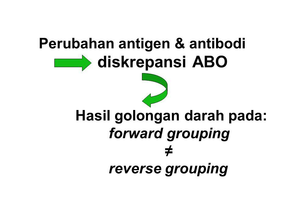 Perubahan antigen & antibodi diskrepansi ABO Hasil golongan darah pada: forward grouping ≠ reverse grouping