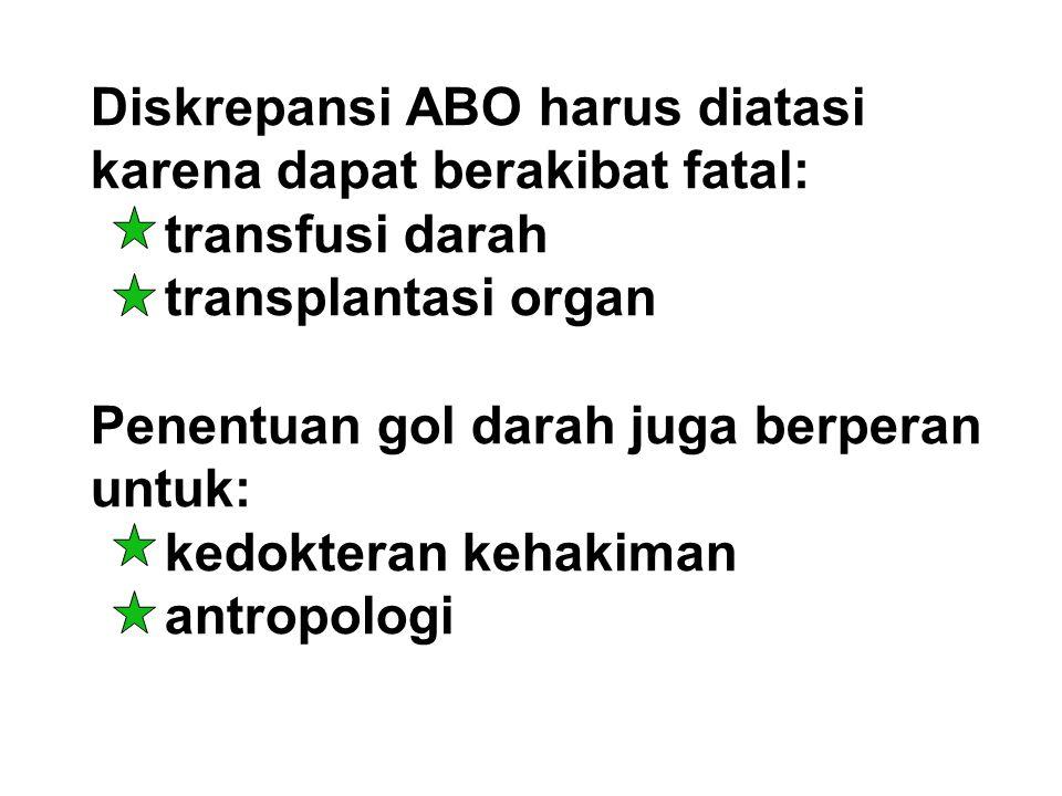 Diskrepansi ABO harus diatasi karena dapat berakibat fatal: transfusi darah transplantasi organ Penentuan gol darah juga berperan untuk: kedokteran ke