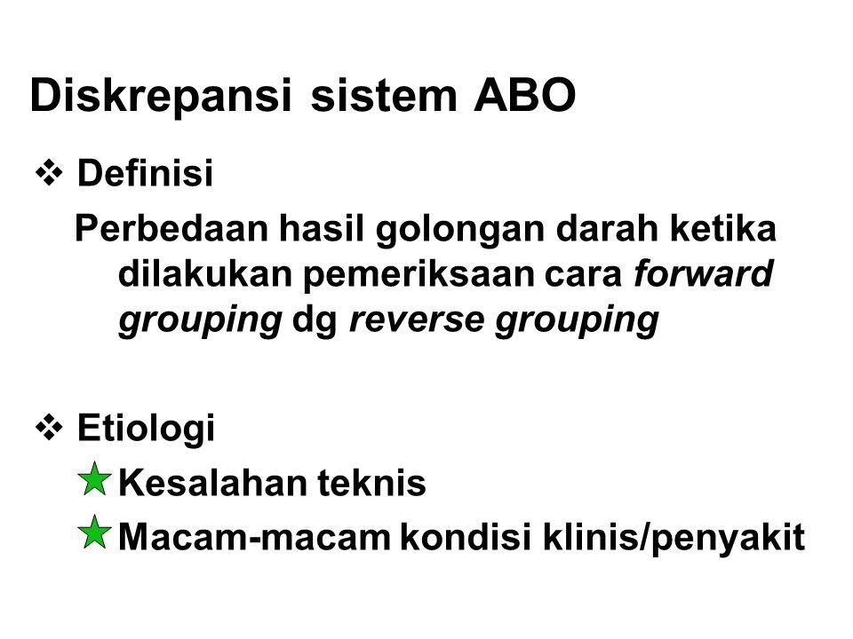 Diskrepansi sistem ABO  Definisi Perbedaan hasil golongan darah ketika dilakukan pemeriksaan cara forward grouping dg reverse grouping  Etiologi Kes