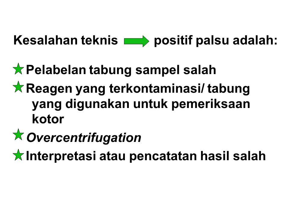 Kesalahan teknis positif palsu adalah: Pelabelan tabung sampel salah Reagen yang terkontaminasi/ tabung yang digunakan untuk pemeriksaan kotor Overcen