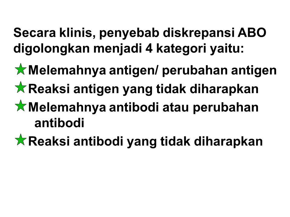 Secara klinis, penyebab diskrepansi ABO digolongkan menjadi 4 kategori yaitu: Melemahnya antigen/ perubahan antigen Reaksi antigen yang tidak diharapk