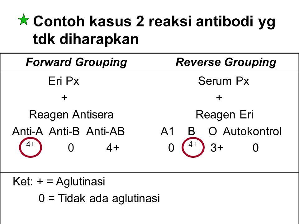 Contoh kasus 2 reaksi antibodi yg tdk diharapkan Forward Grouping Reverse Grouping Eri Px Serum Px + + Reagen Antisera Reagen Eri Anti-A Anti-B Anti-A