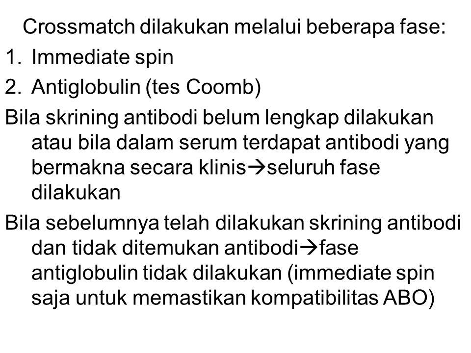 Crossmatch dilakukan melalui beberapa fase: 1.Immediate spin 2.Antiglobulin (tes Coomb) Bila skrining antibodi belum lengkap dilakukan atau bila dalam