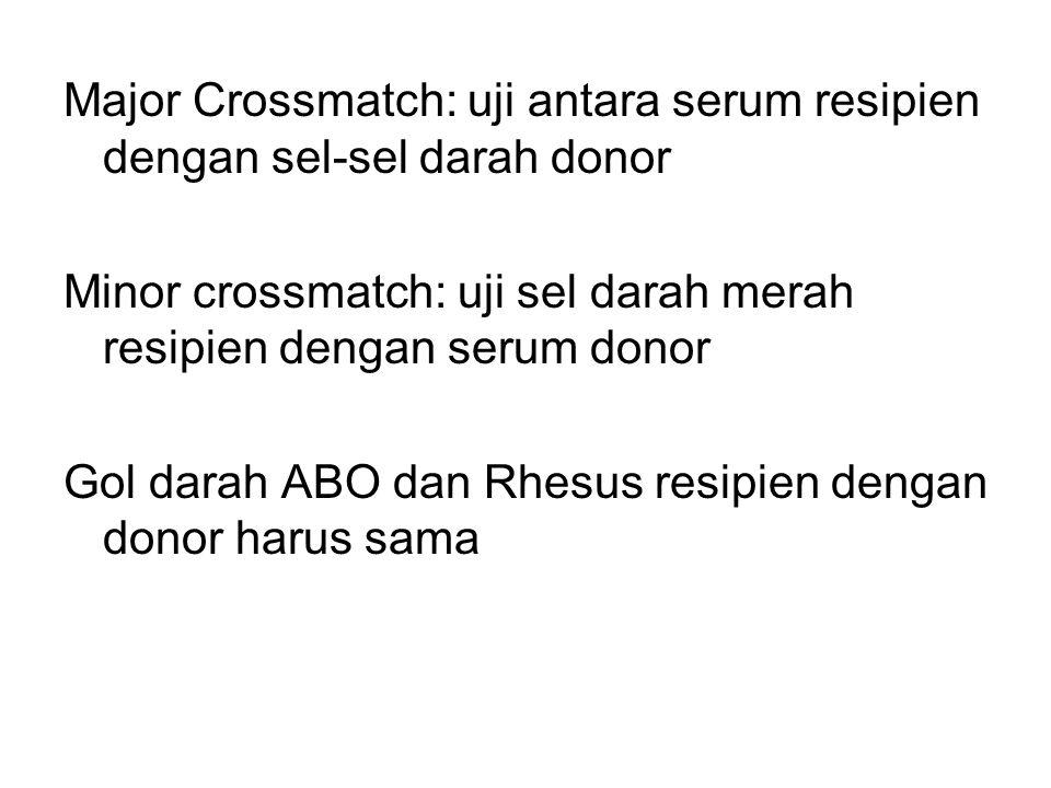 Major Crossmatch: uji antara serum resipien dengan sel-sel darah donor Minor crossmatch: uji sel darah merah resipien dengan serum donor Gol darah ABO