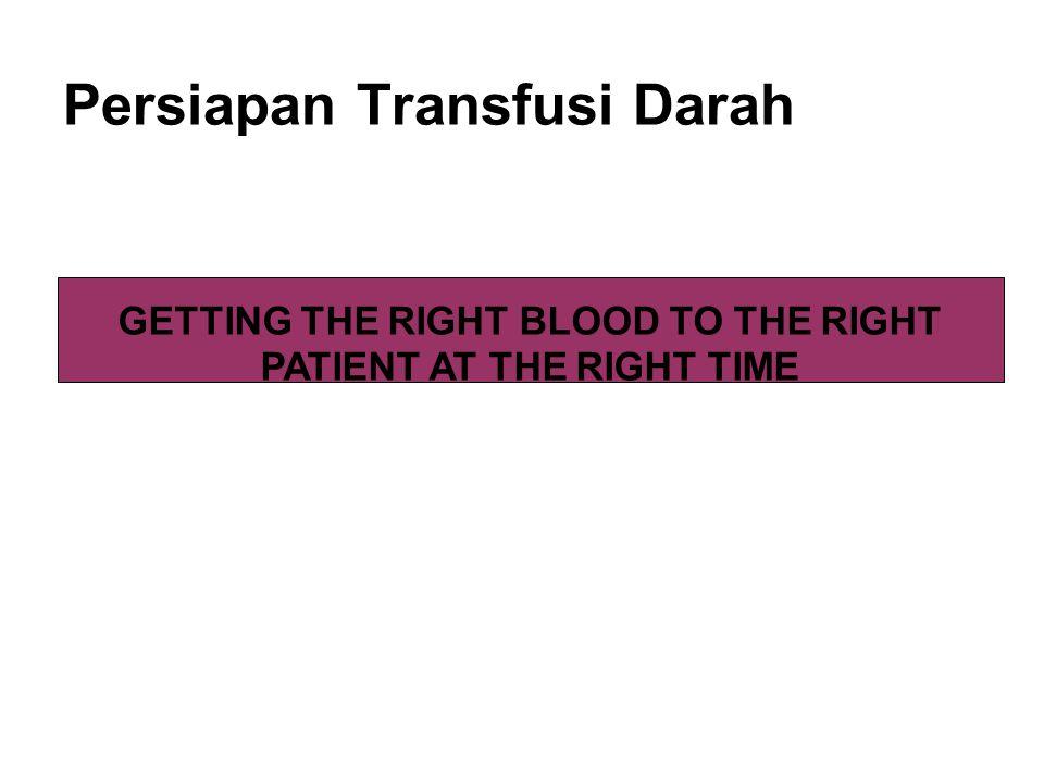 ABO incompatible: -Terbanyak karena kesalahan prosedur persiapan transfusi darah, paling sering adalah kesalahan pemberian label pada contoh darah pasien yang akan diuji gol darah dan uji silang, kesalahan mencocokkan unit transfusi yang seharusnya diberikan kepada pasien -Kesalahan prosedur (proses uji silang)