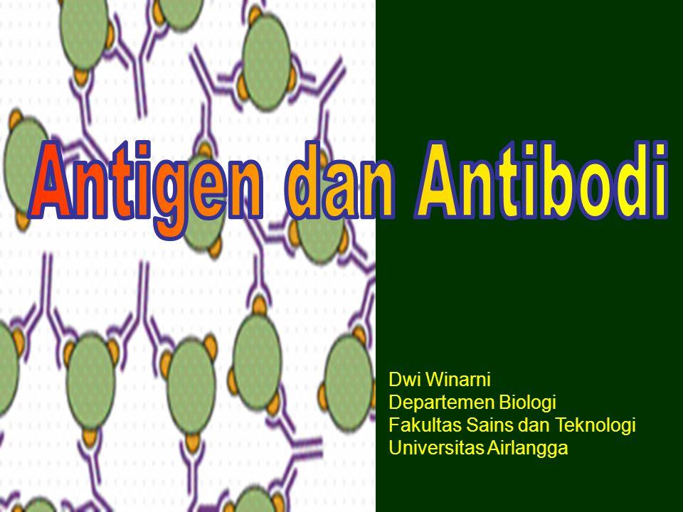 Antigen adalah bahan yang dapat bereaksi dengan komponen sistem imun ditimbulkan oleh bahan yang disebut imunogen Semua imunogen adalah antigen tetapi tidak semua antigen imunogenik