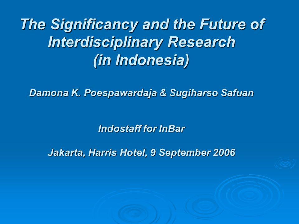Masalah dalam penyelenggaran Riset Multidisiplin Research Management:   Non substansi : Fasilitas Ijin-ijin Anggaran2 Overhead fee Sekretaris