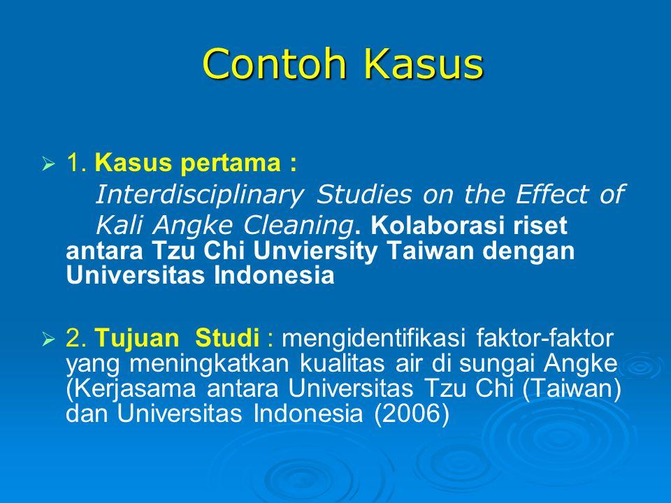 Contoh Kasus Contoh Kasus   1. Kasus pertama : Interdisciplinary Studies on the Effect of Kali Angke Cleaning. Kolaborasi riset antara Tzu Chi Unvie