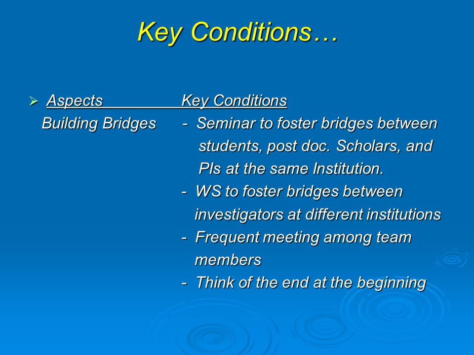 Key Conditions….