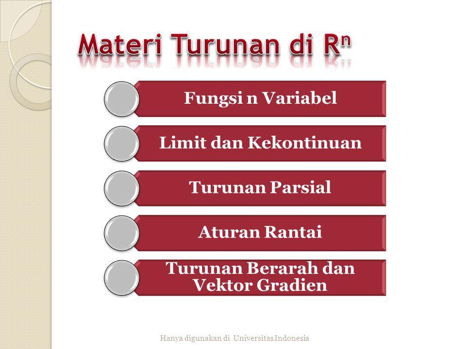 Fungsi n Variabel Limit dan Kekontinuan Turunan Parsial Aturan Rantai Turunan Berarah dan Vektor Gradien Hanya digunakan di Universitas Indonesia