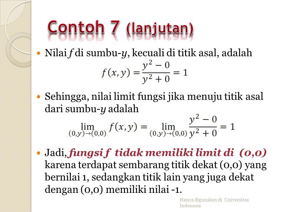 Tunjukkan bahwa f yang didefinisikan sebagai tidak memiliki limit di titik asal (0,0). Penyelesaian: ◦ Fungsi f memiliki nilai di seluruh bidang kecua