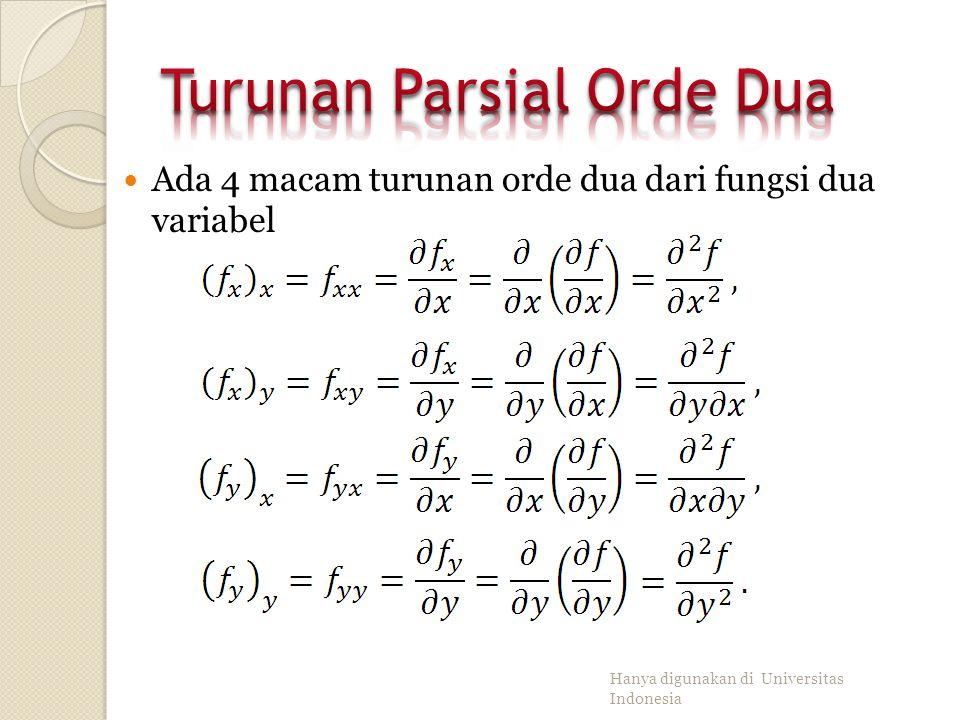 Misalkan dan ada di titik asal (0,0), yaitu: Nilai f sepanjang garis adalah 0, kecuali di titik (0,0). Maka, Karena dan maka f tak kontinu di (0,0). N