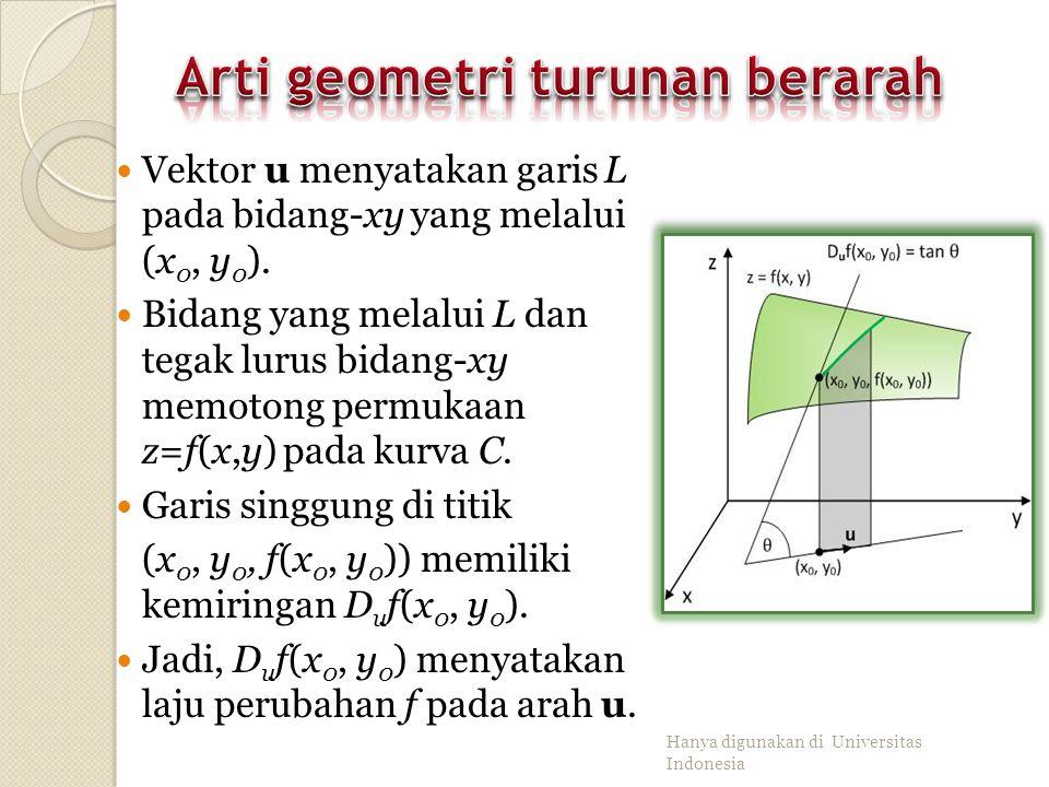 Turunan parsial fungsi dua variabel terhadap-x memiliki arti geometri sebagai laju perubahan f dalam arah i (arah sumbu- x) Bagian ini adalah mempelaj