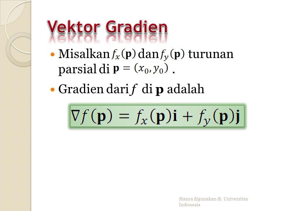Vektor u menyatakan garis L pada bidang-xy yang melalui (x 0, y 0 ). Bidang yang melalui L dan tegak lurus bidang-xy memotong permukaan z=f(x,y) pada