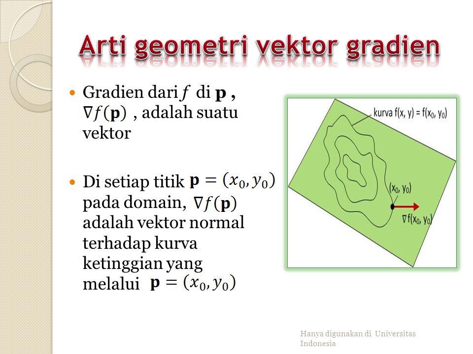 Misalkan dan turunan parsial di. Gradien dari f di p adalah Hanya digunakan di Universitas Indonesia