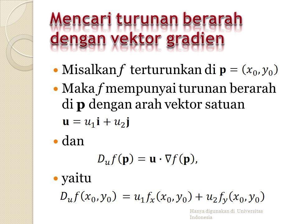 Perkalian dengan konstanta α Penjumlahan dan pengurangan Perkalian Pembagian Hanya digunakan di Universitas Indonesia