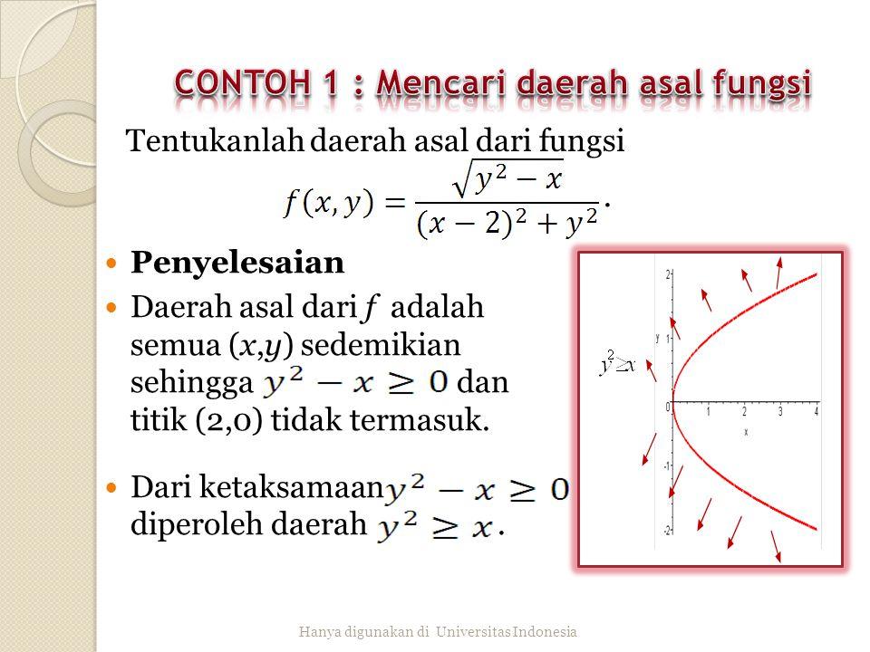Untuk setiap nilai m, fungsi f bernilai konstan sepanjang garis y=mx, x≠0 karena Hanya digunakan di Universitas Indonesia Nilai limit fungsi f pada saat y=mx berubah-ubah sesuai dengan nilai m, sebab f tidak punya limit di (0,0).