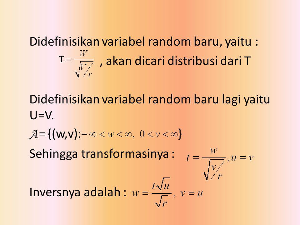 Didefinisikan variabel random baru, yaitu :, akan dicari distribusi dari T Didefinisikan variabel random baru lagi yaitu U=V. A= {(w,v): } Sehingga tr