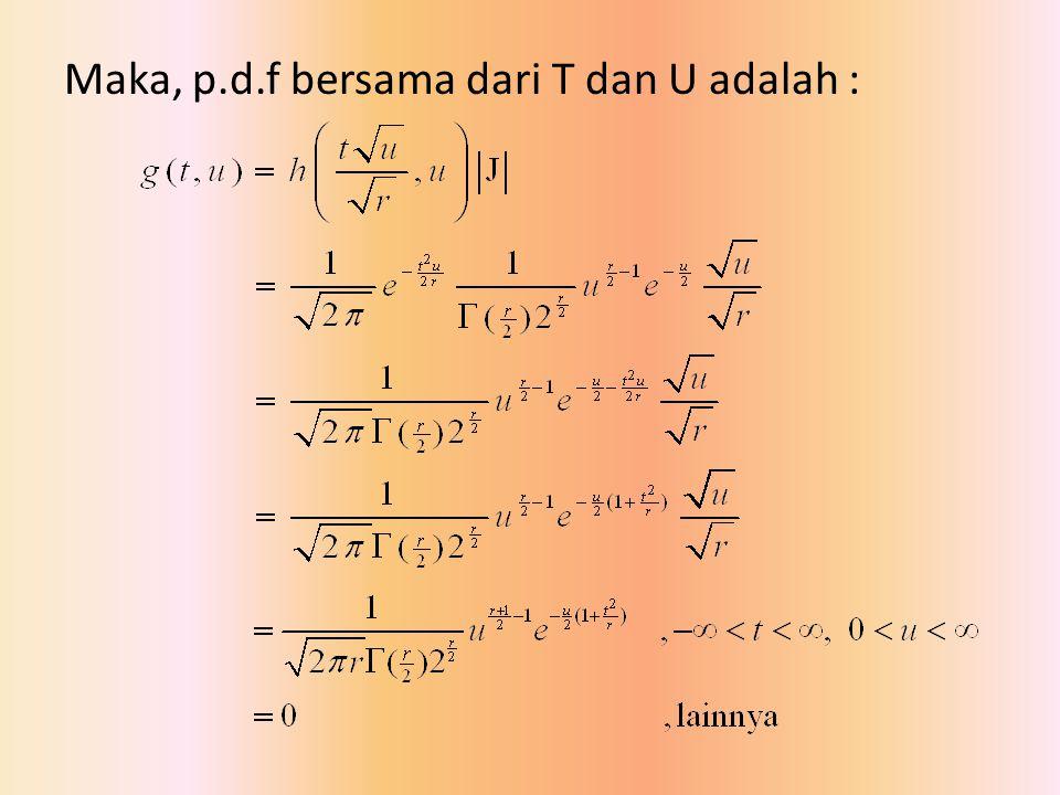 Maka, p.d.f bersama dari T dan U adalah :