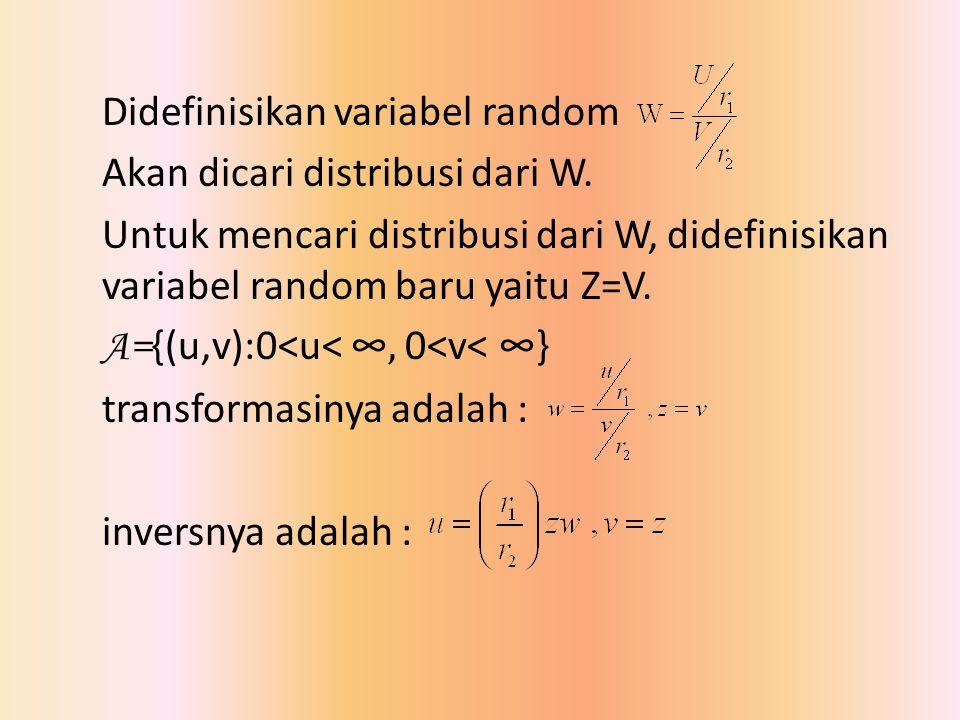 Didefinisikan variabel random Akan dicari distribusi dari W. Untuk mencari distribusi dari W, didefinisikan variabel random baru yaitu Z=V. A= {(u,v):