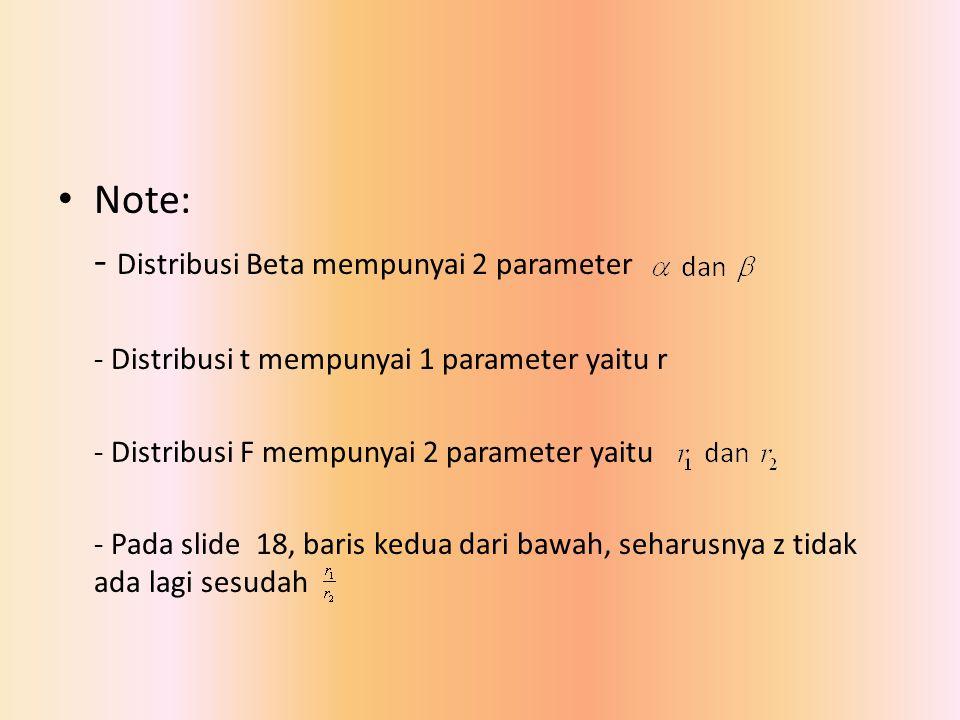 Note: - Distribusi Beta mempunyai 2 parameter - Distribusi t mempunyai 1 parameter yaitu r - Distribusi F mempunyai 2 parameter yaitu - Pada slide 18,