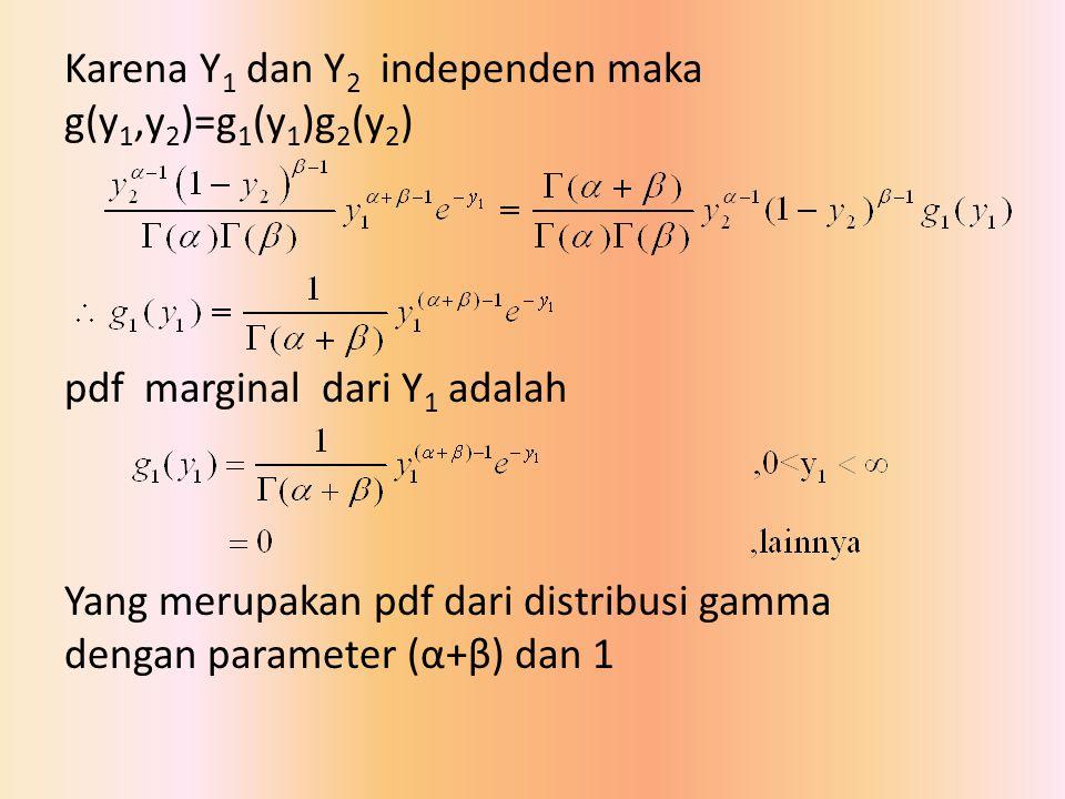 Karena Y 1 dan Y 2 independen maka g(y 1,y 2 )=g 1 (y 1 )g 2 (y 2 ) pdf marginal dari Y 1 adalah Yang merupakan pdf dari distribusi gamma dengan param