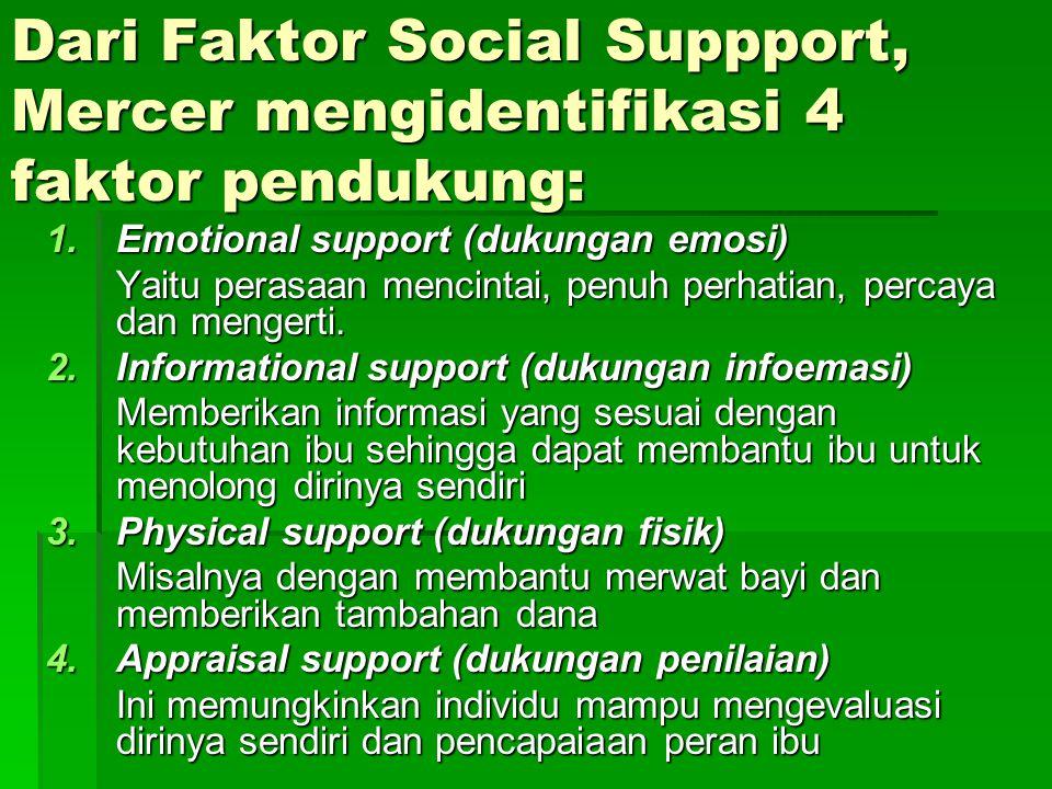 Dari Faktor Social Suppport, Mercer mengidentifikasi 4 faktor pendukung: 1.Emotional support (dukungan emosi) Yaitu perasaan mencintai, penuh perhatian, percaya dan mengerti.