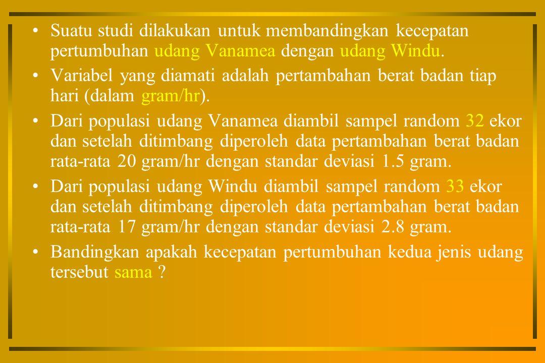 Suatu studi dilakukan untuk membandingkan kecepatan pertumbuhan udang Vanamea dengan udang Windu.