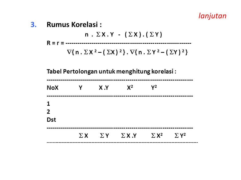 lanjutan 3.Rumus Korelasi : n.  X. Y - (  X ). (  Y ) R = r = --------------------------------------------------------------  { n.  X 2 – (  X )