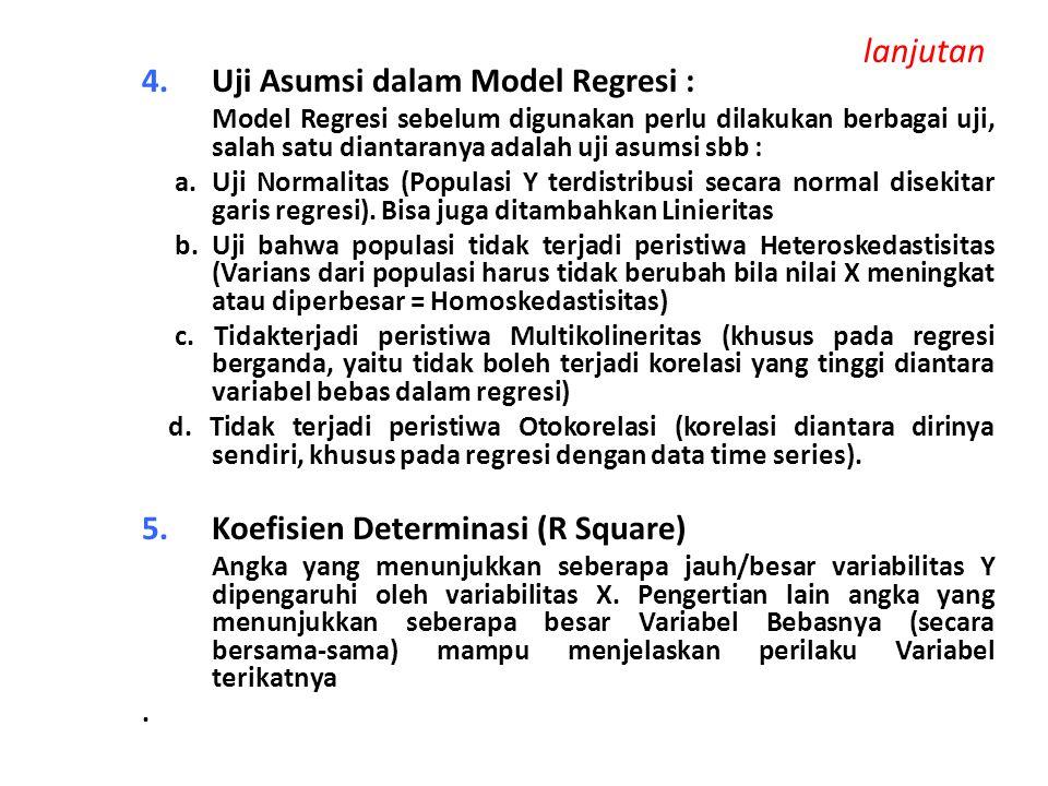 lanjutan 4.Uji Asumsi dalam Model Regresi : Model Regresi sebelum digunakan perlu dilakukan berbagai uji, salah satu diantaranya adalah uji asumsi sbb